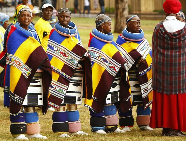 Ndebele women in traditional attire